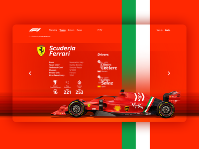 F1 site interface concept - Ferrari Team ux ui ferrari web design website web design