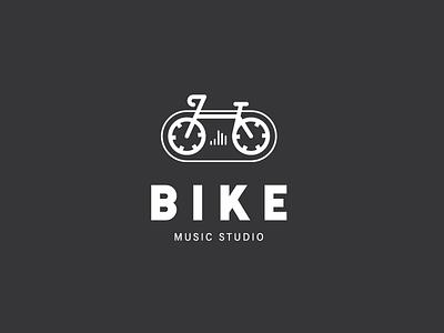 Logo concept for music studio bike cassette sound music logo