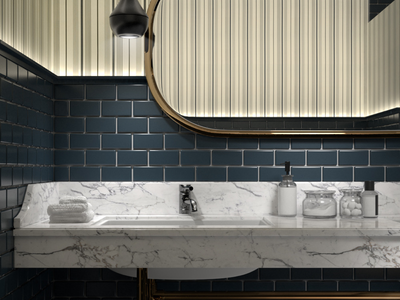 Stylish bath render bathroom interior