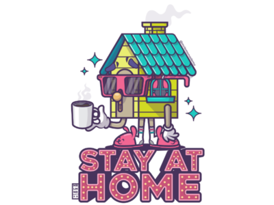 Stay at home glasses coffee casita casa vector home house stay-at-home