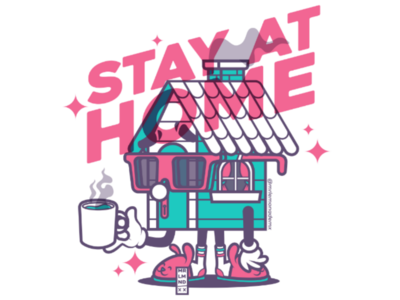 Stay at home 4 safe casita casa cafe coffee glasses vector home house stay-at-home