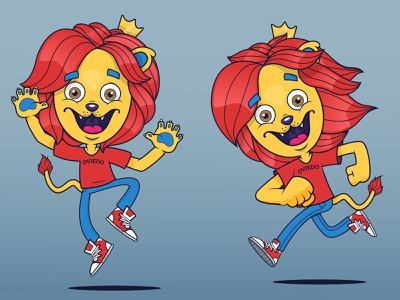 Leoncito Oviedo // Poses mascot kids logo branding illustrator character illustration vector