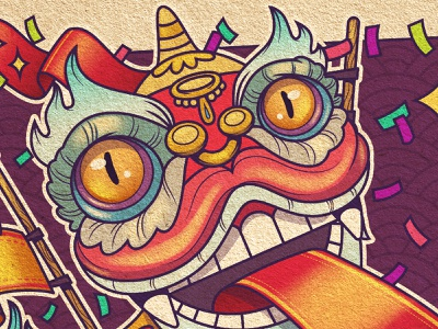 Lion Dance oriental tradition china affinitydesigner illustrator character illustration vector lion dance lion chinese