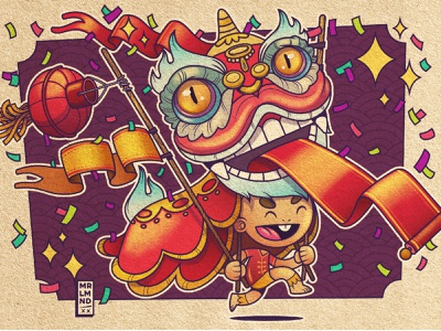 Lion Dance china new year chinese new year ipad affinitydesigner illustrator character illustration vector costume kid holiday celebration lion dance dance lion chinese