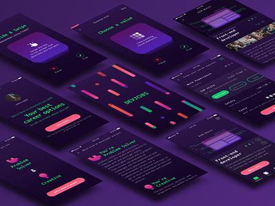 Devjobs mobile personality test dark background quiz career front end development developers developer coloful mobile app logo app design branding ui