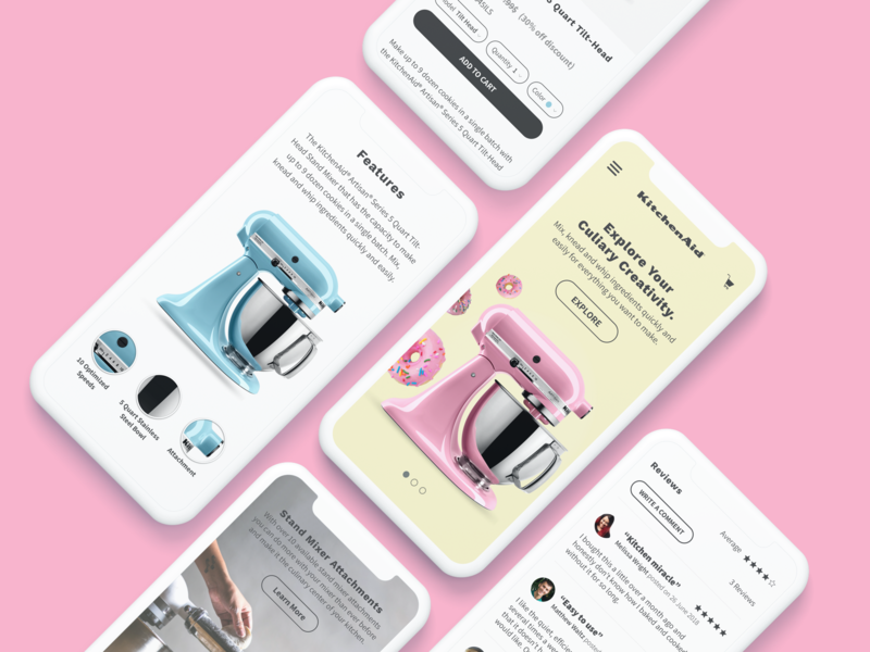 Kitchenaid Redesign cart mixer product page ecommerce reviews features hero ui kitchenaid redesign mobile
