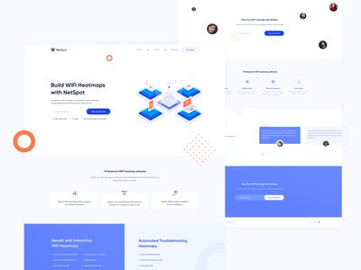 NetSpot Landing page layout idea graphics style clean colors blue page landingpage landing concep ux ui illustration interface design