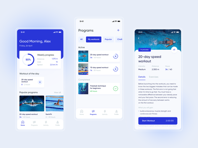 Swimming Coach App blue training workout ui sport coach swimming pool concept mobile app design