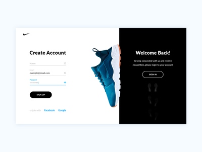 Nike – UI concept – Sign Up & Sign In debut daily ui welcome hello login form new user web nike login create registration sign up sign up registration form design concept ui interface create account authorization
