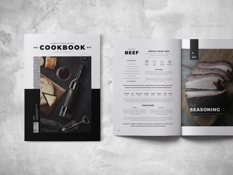 Cookbook / Recipe Book Template cookbook template handmade indesign showcase recipe card kitchen food recipes recipe book cookbook