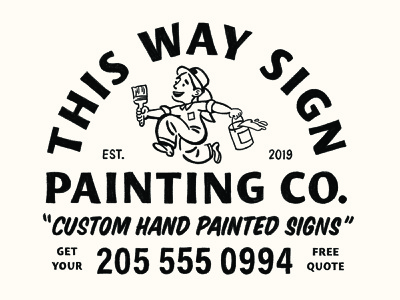 This Way Sign Painting Co. identity logo branding lettering illustrator vector type illustration typography design