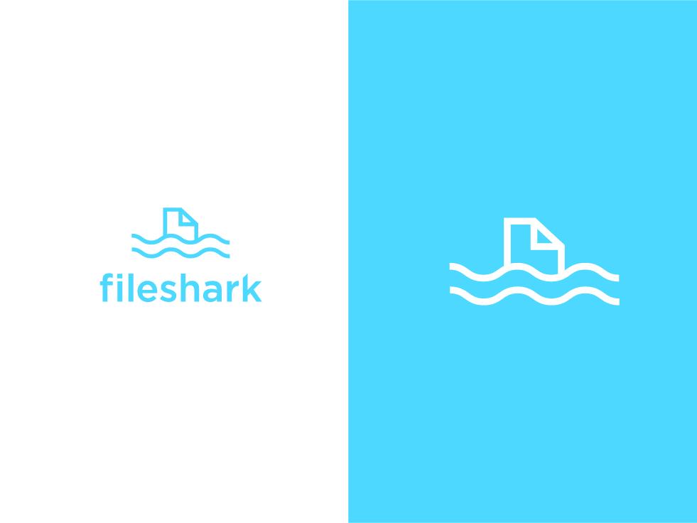 fileshark Logo icon + type logomark symbol icon graphicdesign logo