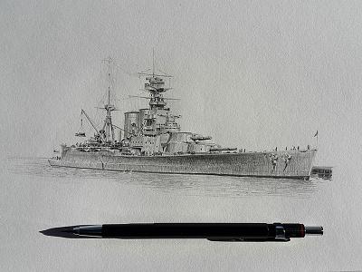 Hms Hood Wellington Harbour hms hood sketch pencil