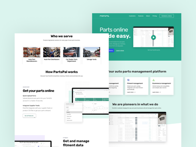 PartsPal Landing page showcase assets web design brand ui landing page webflow ui design
