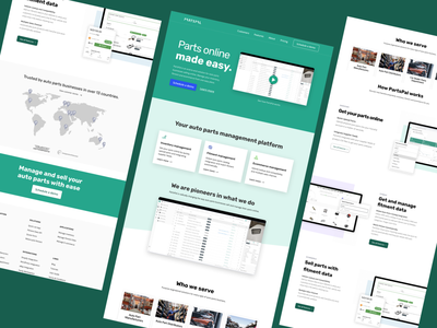 PartsPal Home page figma webflow features landing pages ui design branding design startup