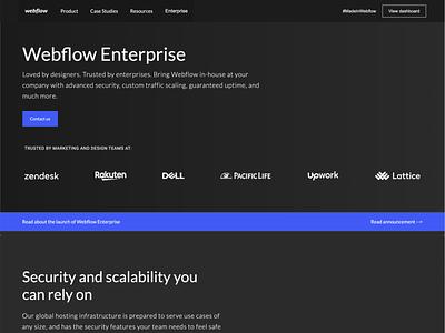Webflow Enterprise page - Rebuilt in Webflow web design web development webdesign software enterprise webflow rebuild