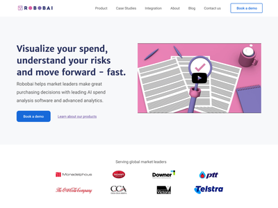 Robobai Hero fonts landing page webdesign analytics webflow software b2b brand design ui