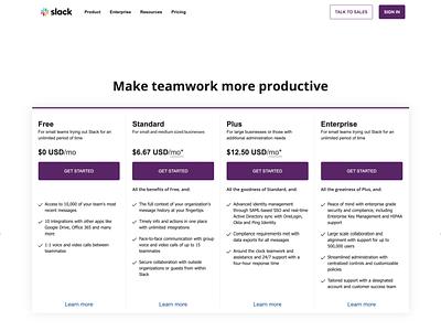 Slack Pricing Page - Webflow Rebuild software uidesign web development design webflow rebuild pricing page slack app slack
