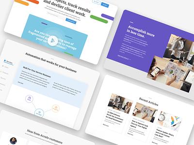 Accelo Landing Page enterprise software branding ui design webflow landing page design