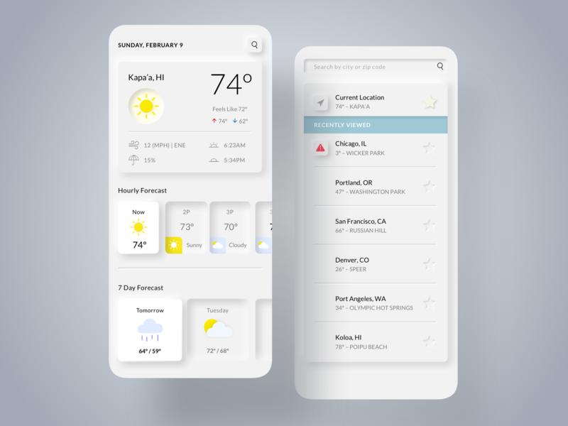 Neumophic Weather App - Daily UI #37 weather ui app sunny weather forecast neumorphism neumorphic mobile weather uidesign dailyui