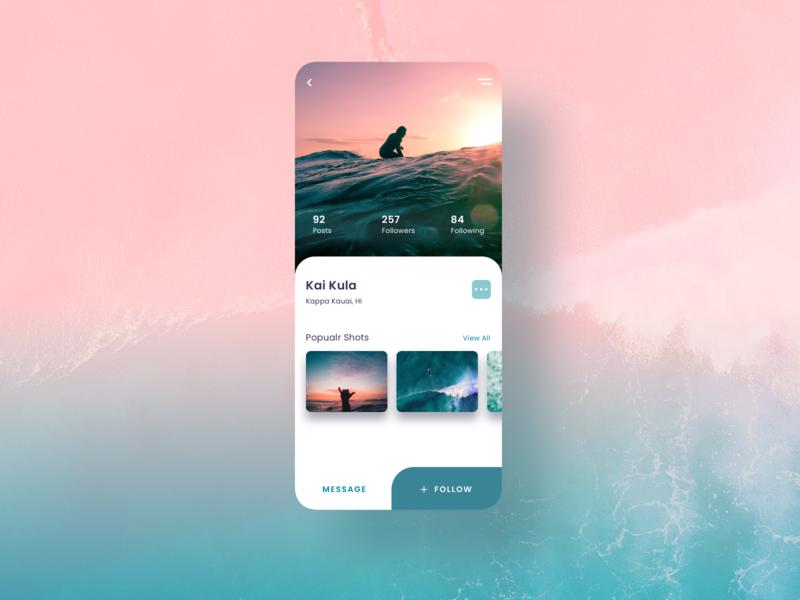 Social App | Profile 006 surfing mobile app design follow profile user profile social app