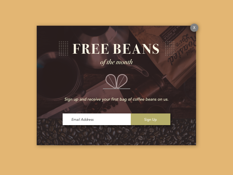 Daily UI Challenge #016 Pop-Up / Overlay signup challenge card coffeebean coffee overlay popup 016 dailyui