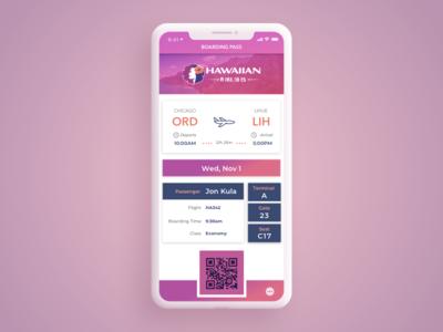 Daily UI Challenge #24 Boarding Pass travel appdesign ux  ui hawaiian airlines 024 dailyui uidesign airplane boarding pass