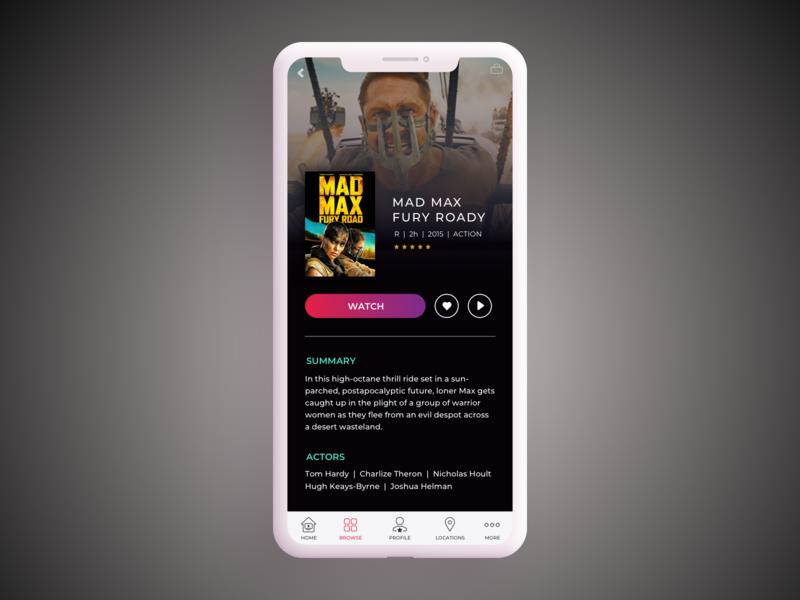 Daily UI Challenge #25 TV App watch now movie rental mobile tv tv tv app mad max dailyuichallange 025 appdesign uidesign ui dailyui
