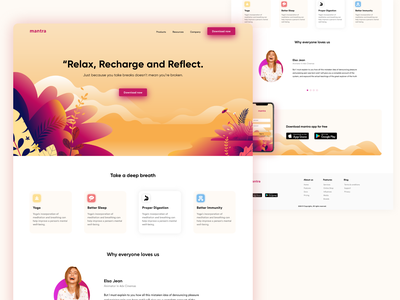 Mantra website design india yoga meditation softwaredesign software vector product page uiux web design product landingpage