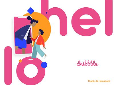 Hello Dribbble flat web typography design illustration