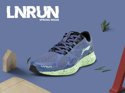 Spring Wear shoes li-ning india china typography branding design