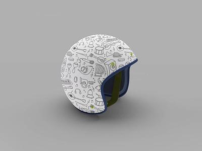 Helmet design teamnomads vector illustration india typography branding design