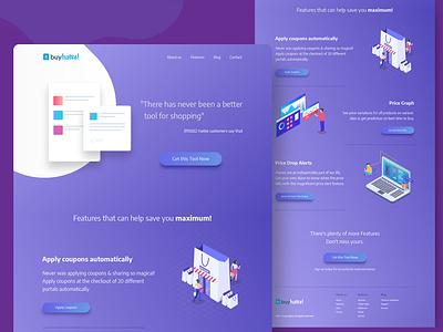 Buyhatke Extension Landing Page typography ui ui  ux landingpage india branding design