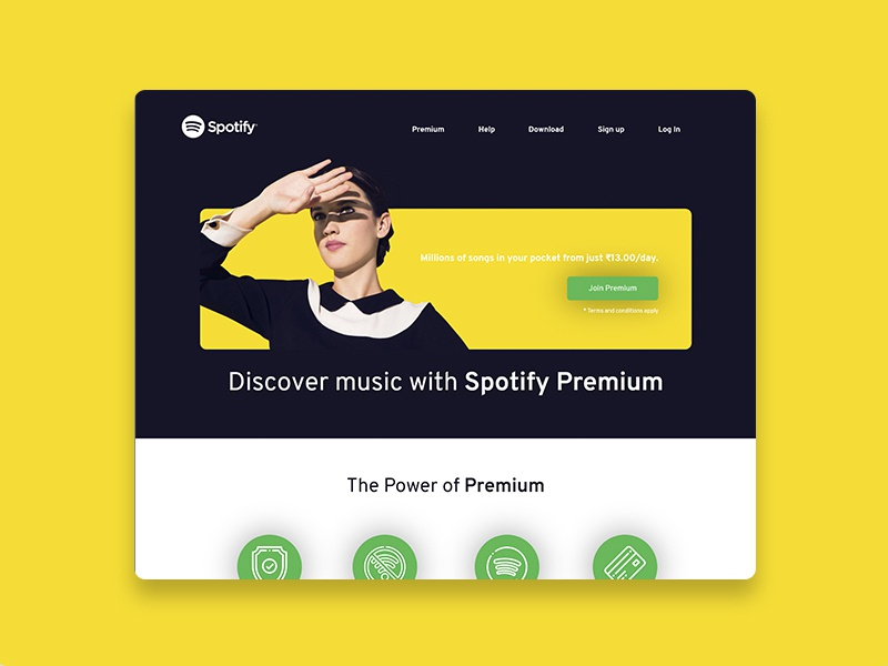 Spotify Redesign Dribble flat minimal website app icon web ux ui india typography branding design