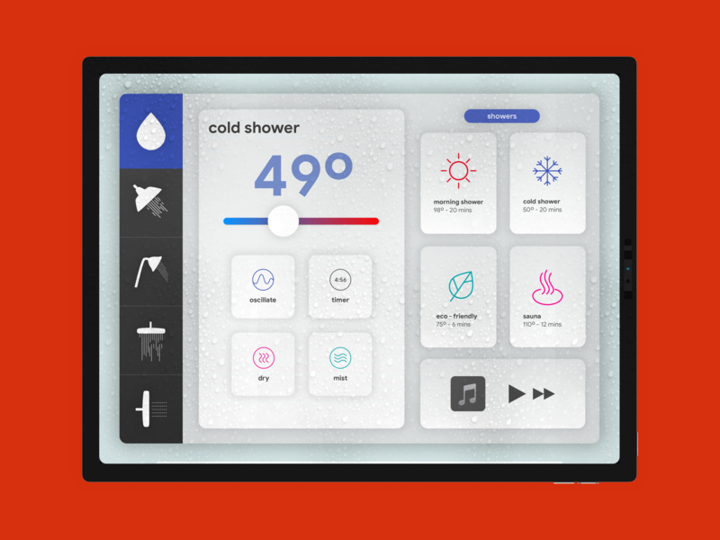 Shower Settings! Smart Shower Concept - Day 007 mobiledesign inspiration 007 settings creative ux mobile interface mockup smart home prototype app concept vector userexperience digitaldesign minimal ui design dailyui