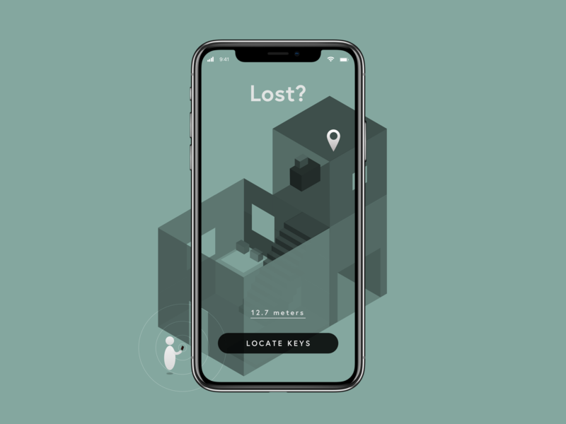 Location Tracker • Lost Keys App Concept • Day 020 flat icon uxui mobile dailyinspiration inspiration vector ux prototype userexperience minimal mobiledesign ui illustration isometric digitaldesign creative interface design dailyui