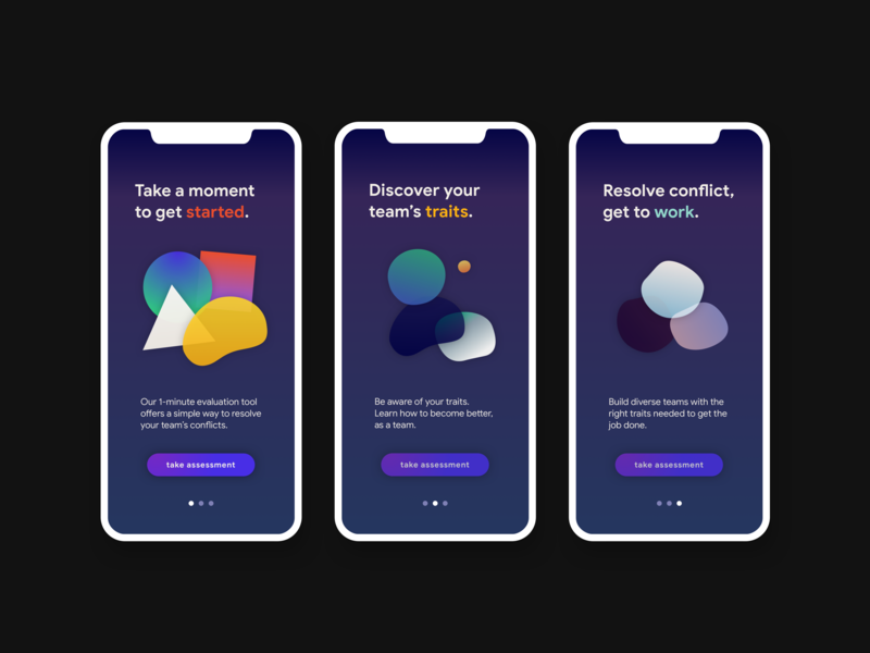 Onboarding • Trait Assessment App • Day 023 web mobile app uxui flat dailyinspiration branding inspiration vector prototype ux userexperience mobiledesign minimal digitaldesign ui creative interface design dailyui