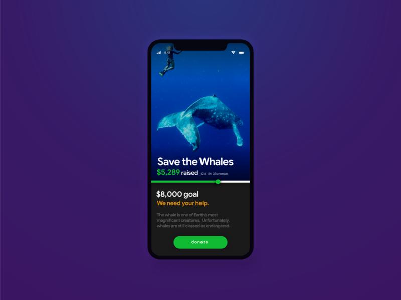 Crowdfunding • Save The Whales • Day 032 web mobile app flat uxui dailyinspiration branding inspiration prototype ux vector userexperience mobiledesign minimal digitaldesign ui creative interface design dailyui