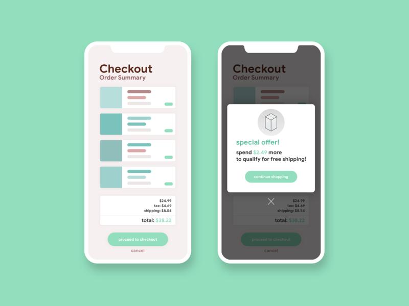 Special Offer • Checkout Flow •Day 036 web mobile app flat uxui dailyinspiration branding inspiration prototype vector ux userexperience mobiledesign minimal digitaldesign creative ui interface design dailyui