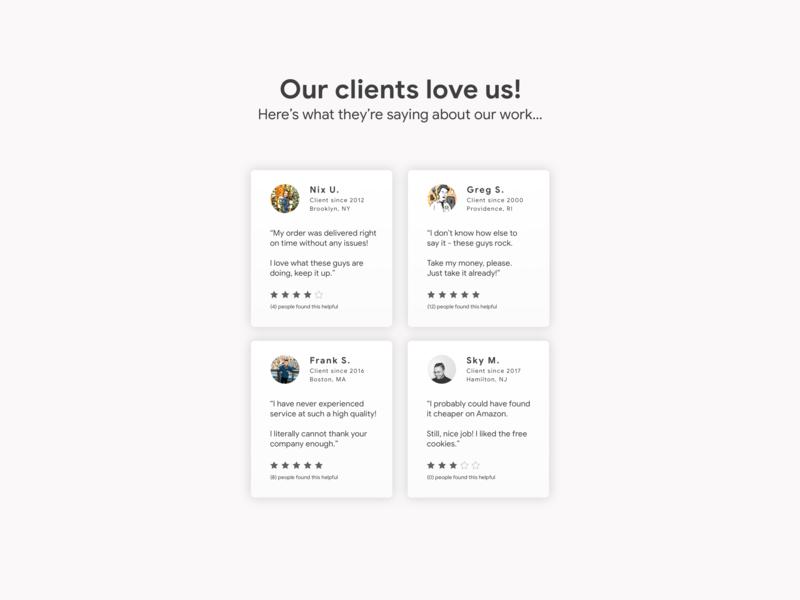 Testimonials •Day 039 userexperience flat uxui web mobile app dailyinspiration branding inspiration prototype vector ux mobiledesign minimal digitaldesign ui creative interface design dailyui