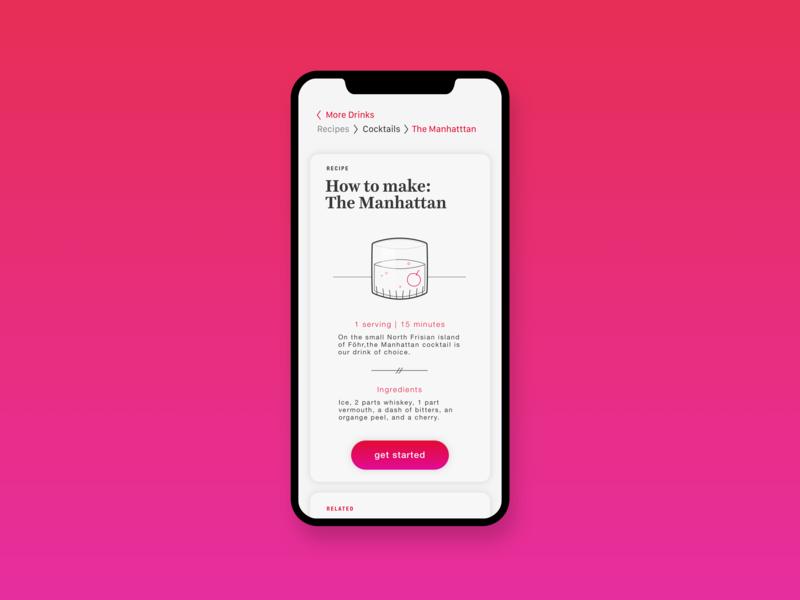 Cocktail Recipe App • The Manhattan • Day 040 web mobile app flat uxui dailyinspiration branding inspiration prototype vector ux userexperience mobiledesign minimal digitaldesign creative ui interface design dailyui