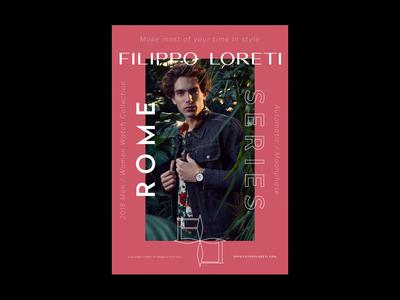 Poster for Filippo Loreti watches poster design watches fashion poster minimal logotype logo typography brand branding