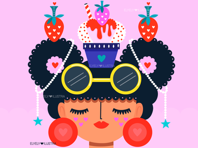 Girl & IceCream illustration digital pattern character illustration
