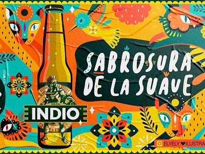 Cerveza Indio marketing campaign illustration