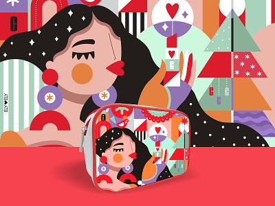 Clinique 2020 girl illustration beauty illustration cosmetic bag design illustrator illustration