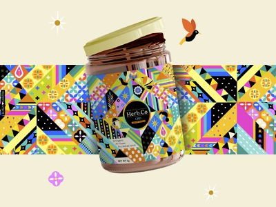 COMMUNITY HERB CO label illustration graphic design jar
