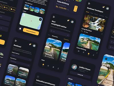 Jagoan Trip App Design - Dark Mode landingpage branding mobile appdesign uxdesign ui design uidesign ux uiux ui