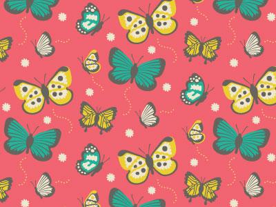 Butterflies!  handmade illustration pattern textile fabric vector summer playful retro butterflies spring