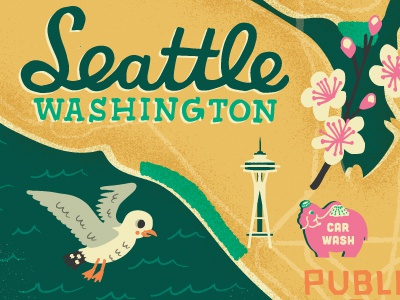 Illustrated map of Seattle by Kat Marshello Dribbble