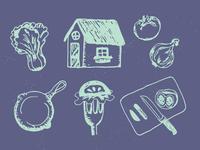 Unused rustic foodie icons